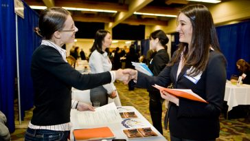 career fair handshake