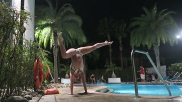 gymnastics at the pool