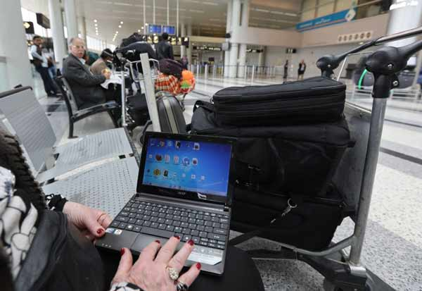 laptop in airport