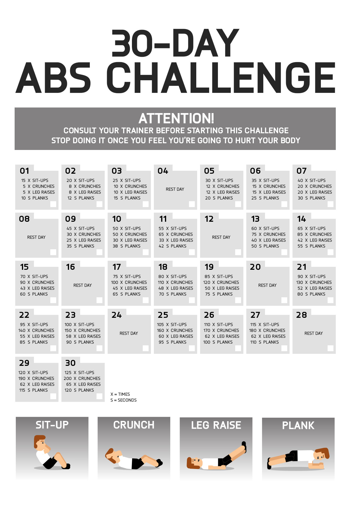 Irresistible image pertaining to printable 30 day ab challenge