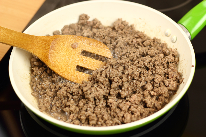 Pan frying ground beef
