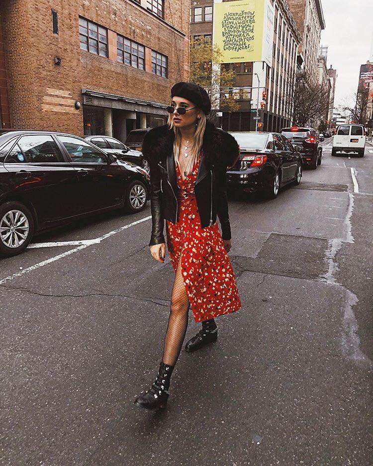 How to Upgrade Your College Outfits with The Latest Trends floral dress black jacket black boots