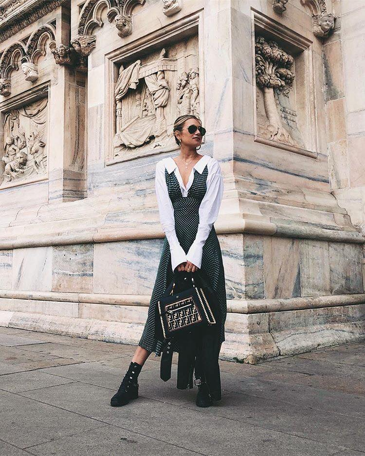 How to Upgrade Your College Outfits with The Latest Trends polka dot dress black boots bag
