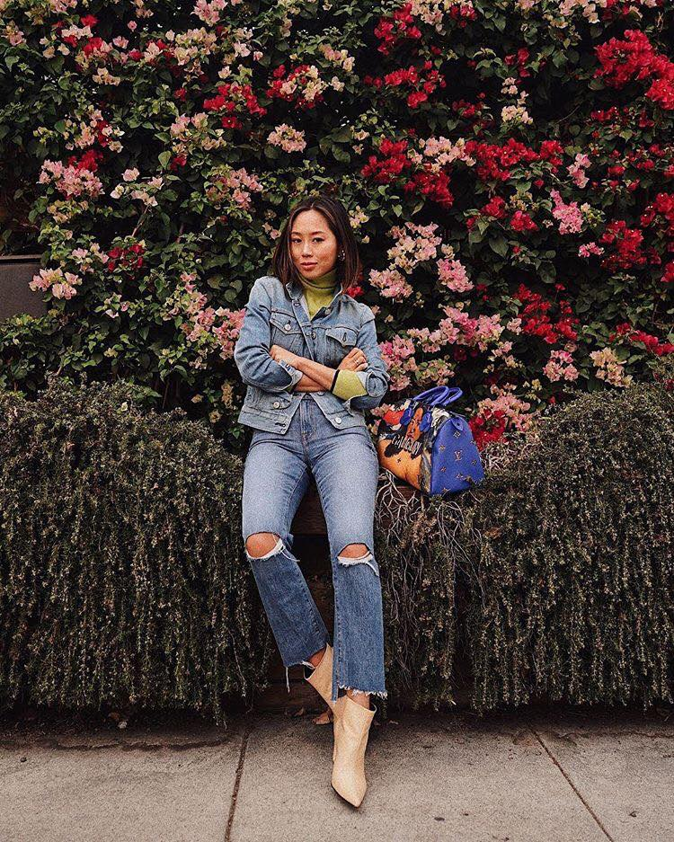How to Upgrade Your College Outfits with The Latest Trends ripped jeans denim jacket boots
